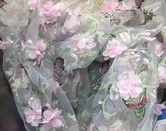 Organza lace fabric with pink 3D rosette ,butterfly printing ,fabric by yard