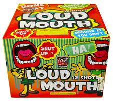 Loud Mouth-Patterns that build from straight up to vee to trident fill the sky in a noisy vocal display. This cake can really talk itself up thanks to brilliant gold and silver coconut pistils, deep reds and greens, and strobe with crackle. Here's The Video: https://vimeo.com/atomicfireworks/review/120097234/aa4f1b87d7