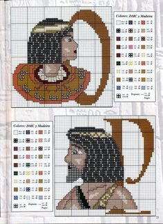 Cross-stitch Abc Egyptian part 8 O-P Cross Stitch Alphabet Patterns, Letter Patterns, Bead Loom Patterns, Cross Stitch Designs, Cross Stitch Samplers, Cross Stitch Charts, Cross Stitching, Crochet Letters, Granny Square Projects