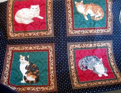 Cat, Kittens, Material, Fabric, Quilting Fabric, Fabric Panel, Sewing Fabric, Four Cats by NormasTreasures on Etsy