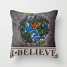 """I Believe in Earth"" by Vernon Fourie Throw Pillows"