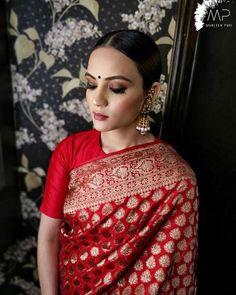 Indian Bridal Fashion, Indian Bridal Makeup, Indian Bridal Wear, Red Saree Wedding, Saree Dress, Sari, Reception Sarees, Designer Party Wear Dresses, Modern Saree