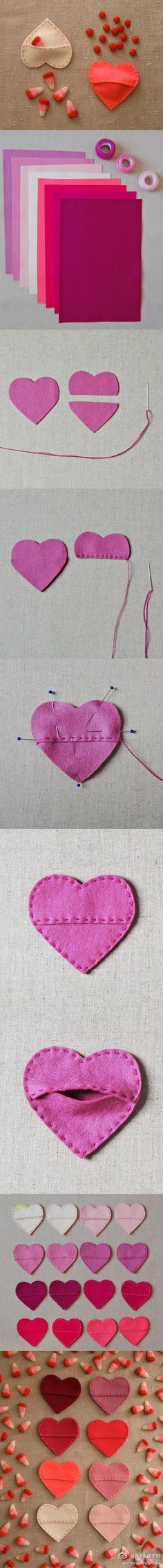 DIY Candy treat bags - Felt Candy Hearts by Molly's Sketchbook via purlbee