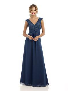 4210  Long chiffon bridesmaid dress with v-neck dc3ab5e94