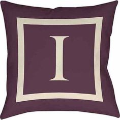 Thumbprintz Classic Block Monogram Decorative Pillow, Eggplant, Purple