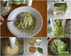 Receta de calabacín en espaguettis con pesto de nueces (vegano)