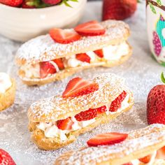 Homemade eclairs filled with whipped cream and fresh strawberries! These eclairs are lightly sweetened and the perfect dessert to enjoy this summer! Fun Desserts, Delicious Desserts, Dessert Recipes, Yummy Food, French Desserts, Eclairs, Profiteroles, Pastry Recipes, Baking Recipes