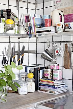 knives magnet, utensils rack, shelves, cookery books