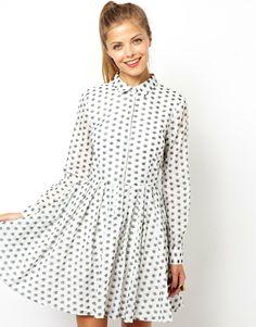 ASOS Shirt Dress In Jacquard Spot