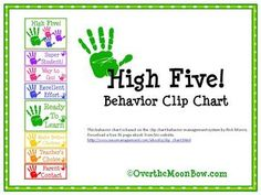 This colorful, handprint themed behavior chart is based on the clip chart behavior management system by Rick Morris.