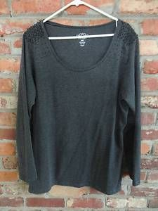 $14.95 Women's Old Navy Gray & Black Beaded Long Sleeve Round Neck Shirt Top Size: XL Free Shipping