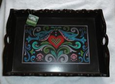 RARE Wood Painted Heart Bird Tray Hand Signed by Jim Shore 2012 Crazy Mountain | eBay