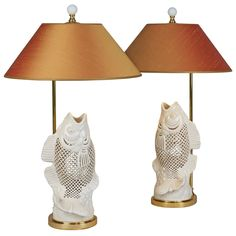 Blanc de Chine Pair of Table lamps carved Porcelain Fish