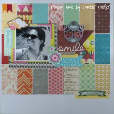 Lift da Nicolle Nowosad. Amei fazer um background usando minha caixinha de retalhos de papel! Créditos - http://justnicks.blogspot.com.br/2013/04/bliss-simple-stories.html