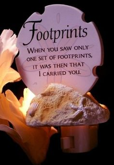 Footprints Poem Night Light Footprints Poem Night Light by International Wholesale Gifts & Collectibles, http://www.amazon.com/dp/B00C7N8CUS/ref=cm_sw_r_pi_dp_4yR0rb0T64GDR