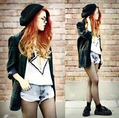 white t shirt, cuffed jean shorts, oversized plaid shirt/blazer, black stockings, black shoes