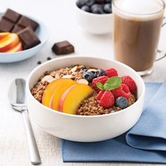 Bowl of breakfast quinoa. Brunch, Quinoa Breakfast, Poke Bowl, Nutrition, Omelette, Fruit Salad, Granola, Tofu, Acai Bowl