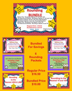 Six packets focused on rounding 3 and 4 digit numbers to the nearest 10, 100, or 1,00.  Grab yours today and SAVE $6.50 when you buy the BUNDLE.