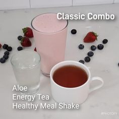 Classic Combo: Choose 1 of Each: 1 - Aloe Shot 2 - 16 oz Energy Tea 3 - Shake Protein Healthy Lunch Smoothie, Dinner Smoothie, Pear Smoothie, Breakfast Smoothies, Smoothie Recipes, Smoothie Ingredients, Herbalife Aloe, Herbalife Shake Recipes, Herbalife Nutrition