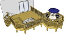 Very cool easy to build 330 sf deck, download it for free anytime.  24 sizes available.