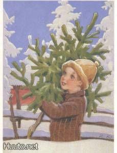 Country Christmas, Christmas And New Year, Christmas Tree, Vintage Christmas Cards, Vintage Cards, Christen, Scandinavian Christmas, Dear Santa, Illustrators