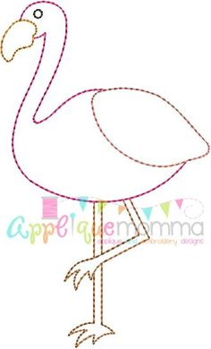 Flamingo Vintage Embroidery Design: