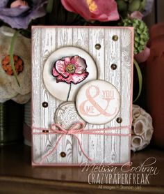 Melissa Cochran: Crazy Paper Freak – Stylin' Stampin' INKspiration ~ May Card Sketch - 5/12/14.  (SU: Hardwood, Happy Watercolor, Perfect Pennants, Truly Grateful, Gorgeous Grunge stamps).  Pin#1: Woodgrain;  Pin+: Flowers-SU-Fussy...).