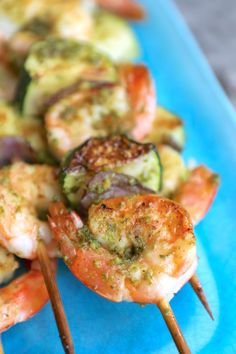 These Keto Pesto Shrimp Skewers are super easy to make and no grill required - just assemble, season, and bake on a sheet pan! If you're not a shrimp fan, these sheet pan pesto shrimp skewers can also be made with chunks of fish or chicken. Atkins Recipes, Keto Recipes, Healthy Recipes, Weekly Recipes, Healthy Snacks, Vegetarian Recipes, Dessert Recipes, Best Low Carb Recipes, Best Gluten Free Recipes