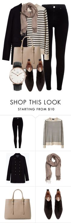 """""""Untitled #5122"""" by laurenmboot ❤ liked on Polyvore featuring River Island, A.P.C., Zara, MANGO, H&M, Daniel Wellington, women's clothing, women's fashion, women and female"""