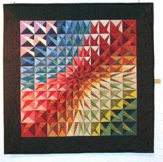 Batik Quilts, Panel Quilts, Scrappy Quilts, Bright Quilts, Small Quilts, Art Textile, Textile Artists, Optical Illusion Quilts, Rainbow Quilt