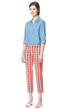 ZARA - Trousers with multicolour pattern Zara Trousers, Trousers Women, Pants For Women, Girly Outfits, Cute Outfits, Printed Trousers, Chambray Top, Zara United States, Easy Wear