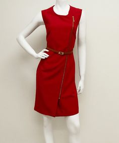 Look at this Voir Voir Red Asymmetrical Belted Zip Sheath Dress - Women on #zulily today!
