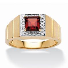 PalmBeach Men's 10k Two-tone Garnet and Diamond Accent Ring