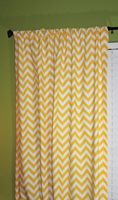 FREE U.S. SHIPPING - Set of Two 50x84 inch Designer Rod Pocket Drapery Panels. Corn Yellow and White Chevron Zig-Zag - Lined with Blackout. on Etsy, $180.00