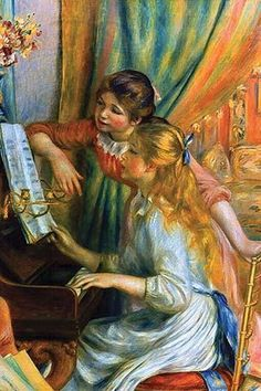 Two teenage girls examine the music score on the piano, one seated and one standing Piano Art, Piano Music, Motif Music, August Renoir, Renoir Paintings, Oil Paintings, Painting Prints, Art Prints, Impressionist Artists