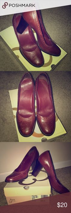 Bass & Co Corrie heel, Merlot Merlot leather heel with eyelet detail on tops and around entire edge. Bass Shoes Heels