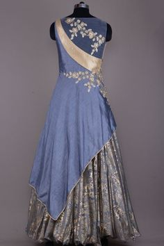Buy Stone Grey Zari Embroidered Raw Silk Evening Gown Online Indian Gowns Dresses, Dance Dresses, Anarkali Dress, Red Lehenga, Indowestern Gowns, Kids Party Wear Dresses, Evening Gowns Online, Silk Evening Gown, Stylish Dresses For Girls