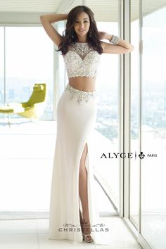 Channel your inner Princess Jasmine wearing this sleek two piece w/ a bedazzled sheer top. Alyce 6391 Dress Paris Collection / $478 - Shop the look at: www.christellas.com #prom #dresses #Alyce
