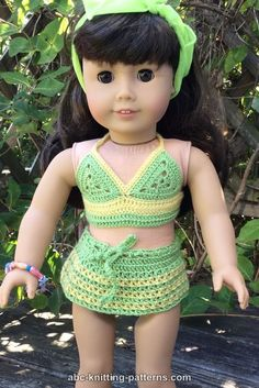 ABC Knitting Patterns - American Girl Doll Two-Piece Swim Suit (Bikini Top and Skirt Bottom)