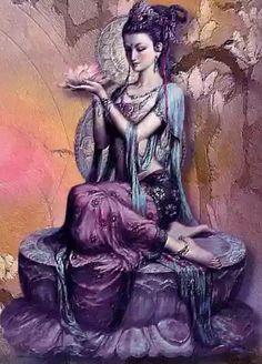 Kuan Yin the Chinese Goddess of Mercy, one of the most beloved of deities Buddha Kunst, Buddha Art, Sacred Feminine, Divine Feminine, Art Asiatique, Goddess Art, Orisha, Guanyin, Tibetan Buddhism