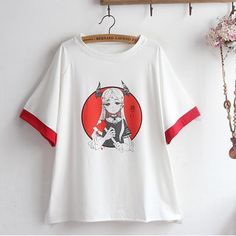 Short Sleeve Tee Devil Girl Print Round Neck Color Matching Printed Shorts, Patterned Shorts, Ceylon Tee, Summer Colors, Short Sleeve Tee, Tees, Devil, Cotton, Clothes