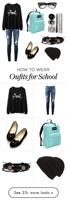 """Hurry for school"" by anika44 on Polyvore featuring AG Adriano Goldschmied, JanSport, Bobbi Brown Cosmetics and Phase 3"