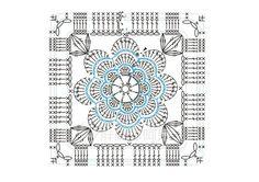 crochet flower square chart