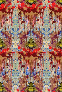 """""""Bloody Empire"""" ~ Timorous Beasties. This is a very contemporary piece of wallpaper. There is a variety of colours in this piece and there is some rivalry between the colours. The red and blue are shrouded by the bold yellow of the bumblebee. There is an organic feel to this wallpaper as the plants surround the insect creating a modern and natural idea to the wallpaper."""