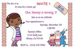 Doc McStuffins Birthday Invitation- Click on the image twice to place orders or follow me on facebook. or email me at the address in BIO.