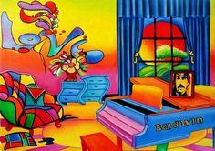 Scoop de doble cono de fresa, pintura original del artista Oriana Kacicek | DailyPainters.com