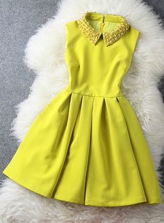 Yellow Dress with Pearl Beaded Collar