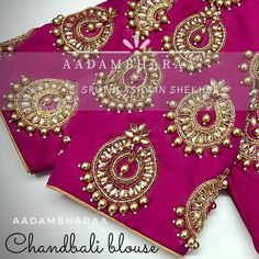 Beautiful pink color bridal designer blouse with chandbali design hand embroidery kundan work from Aadambharaa. 26 July 2017 Saree Blouse Designs, Blouse Patterns, Bridal Blouse Designs, Sari Blouse, Peacock Blouse Designs, Blouse Styles, Blouse Desings, Embroidered Blouse, Crazy Quilting