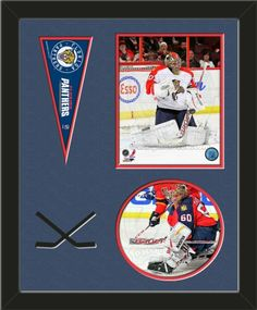 Two framed 8 x 10 inch Florida Panthers photos of your choice (including one VERTICAL photo at the top and one HORIZONTAL photo framed in an oval) with a Florida Panthers mini pennant, double matted in team colors to 16 x 20 inches.  Includes two black hockey sticks which are cut into the top mat.  The oval photo will be cropped to fit.  (Pennant design subject to change) $89.99  @ ArtandMore.com