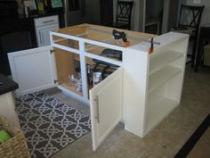 Step-by-step updating a builder-grade island! Even has the butcher block counters I want!!